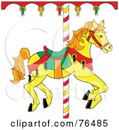 Royalty Free RF Clipart Illustration Of A Yellow Carousel Horse With Orange Hair