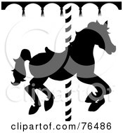 Royalty Free RF Clipart Illustration Of A Black And White Silhouetted Carousel Horse
