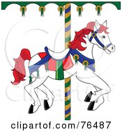 Royalty Free RF Clipart Illustration Of A White Carousel Horse With Red Hair