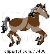Royalty Free RF Clipart Illustration Of A Running Brown Carousel Horse With Black Hair