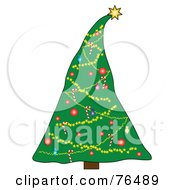 Royalty Free RF Clipart Illustration Of A Christmas Tree Decorated With A Heavy Star Topper by Pams Clipart
