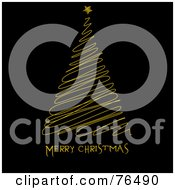 Merry Christmas Greeting Under A Yellow Scribbled Christmas Tree