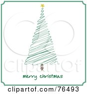 Merry Christmas Greeting Under A Green Scribble Christmas Tree