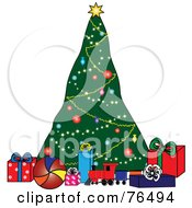Royalty Free RF Clipart Illustration Of A Decorated Christmas Tree Behind Toys And Presents