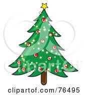 Royalty Free RF Clipart Illustration Of A Decorated Christmas Tree With Sparkling Lights And Red Baubles