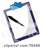 Royalty Free RF Clip Art Illustration Of A Sheet Of Paper And Pen On A Blue Clipboard