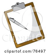 Royalty Free RF Clipart Illustration Of A Sheet Of Paper And Pen On A Brown Clipboard by Pams Clipart