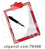 Royalty Free RF Clipart Illustration Of A Sheet Of Paper And Pen On A Red Clipboard by Pams Clipart