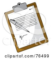 Royalty Free RF Clipart Illustration Of A Letter And Pen On A Brown Clipboard by Pams Clipart