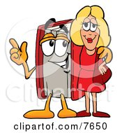 Clipart Picture Of A Red Book Mascot Cartoon Character Talking To A Pretty Blond Woman