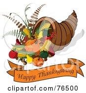 Happy Thanksgiving Greeting Banner Under A Horn Of Plenty Cornucopia