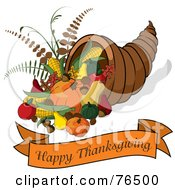 Royalty Free RF Clipart Illustration Of A Happy Thanksgiving Greeting Banner Under A Horn Of Plenty Cornucopia