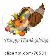Royalty Free RF Clipart Illustration Of A Happy Thanksgiving Greeting Under A Horn Of Plenty Cornucopia by Pams Clipart