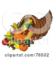 Royalty Free RF Clipart Illustration Of A Horn Of Plenty Cornucopia Full Of Autumn Foods