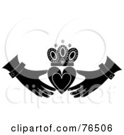 Royalty Free RF Clipart Illustration Of A Black And White Heart Crown And Hands Claudaugh Design