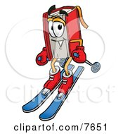 Clipart Picture Of A Red Book Mascot Cartoon Character Skiing Downhill