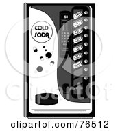 Royalty Free RF Clipart Illustration Of A Black And White Soda Dispenser Vending Machine