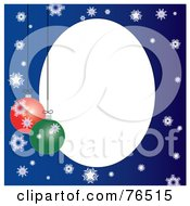 White Oval Bordered With Christmas Bulbs And Snowflakes On Blue