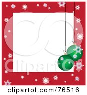 White Square Bordered With Christmas Bulbs And Snowflakes On Red