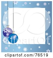White Square Bordered With Christmas Bulbs And Snowflakes On Blue