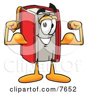 Clipart Picture Of A Red Book Mascot Cartoon Character Flexing His Arm Muscles
