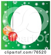 White Oval Bordered With Christmas Bulbs And Snowflakes On Green
