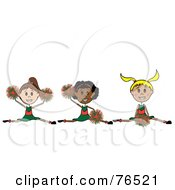 Royalty Free RF Clipart Illustration Of A Stick Girl Cheerleading Squad Jumping