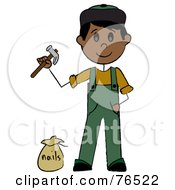 Royalty Free RF Clipart Illustration Of A Hispanic Handy Man Holding A Hammer And Standing By Nails