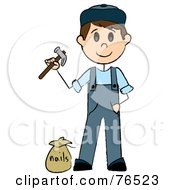 Royalty Free RF Clipart Illustration Of A Caucasian Handy Man Holding A Hammer And Standing By Nails
