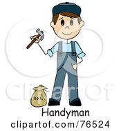 Royalty Free RF Clipart Illustration Of A Word Below A Caucasian Handyman Holding A Hammer And Standing By Nails