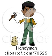 Royalty Free RF Clipart Illustration Of A Word Below A Hispanic Handyman Holding A Hammer And Standing By Nails by Pams Clipart