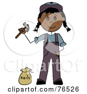 Royalty Free RF Clipart Illustration Of A Hispanic Handy Girl Holding A Hammer And Standing By Nails