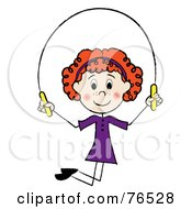 Royalty Free RF Clip Art Illustration Of A Happy Redhead Caucasian Girl Jumping Rope by Pams Clipart