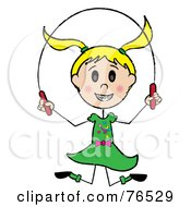 Happy Blond Caucasian Girl Jumping Rope by Pams Clipart