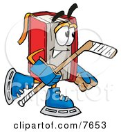 Clipart Picture Of A Red Book Mascot Cartoon Character Playing Ice Hockey