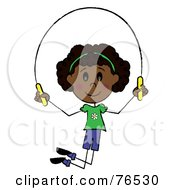 Happy African American Girl Jumping Rope