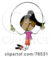 Happy Hispanic Girl Jumping Rope by Pams Clipart