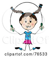 Happy Brunette Caucasian Little Girl Jumping Rope by Pams Clipart