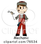 Royalty Free RF Clipart Illustration Of A Word Under A Dirty Caucasian Boy Mechanic Holding A Wrench by Pams Clipart