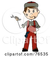 Royalty Free RF Clipart Illustration Of A Friendly Caucasian Boy Mechanic Holding A Wrench by Pams Clipart