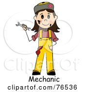 Royalty Free RF Clipart Illustration Of A Word Under A Dirty Caucasian Girl Mechanic Holding A Wrench by Pams Clipart