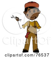 Royalty Free RF Clipart Illustration Of A Friendly Hispanic Boy Mechanic Holding A Wrench by Pams Clipart