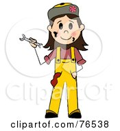 Royalty Free RF Clipart Illustration Of A Friendly Caucasian Girl Mechanic Holding A Wrench by Pams Clipart