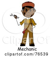 Royalty Free RF Clipart Illustration Of A Word Under A Dirty Hispanic Boy Mechanic Holding A Wrench by Pams Clipart