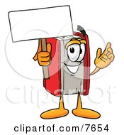 Clipart Picture Of A Red Book Mascot Cartoon Character Holding A Blank Sign