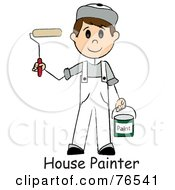 Royalty Free RF Clipart Illustration Of Words Under A Caucasian Painter Stick Boy With A Roller Brush by Pams Clipart
