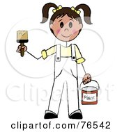 Royalty Free RF Clipart Illustration Of A Friendly Caucasian Brunette Painter Stick Girl With A Roller Brush