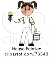 Royalty Free RF Clipart Illustration Of Words Under A Caucasian Brunette Painter Stick Girl With A Roller Brush by Pams Clipart