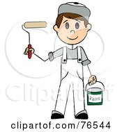 Royalty Free RF Clipart Illustration Of A Friendly Caucasian Painter Stick Boy With A Roller Brush