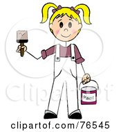 Royalty Free RF Clipart Illustration Of A Friendly Caucasian Blond Painter Stick Girl With A Roller Brush